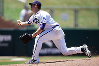 Pitcher Justin Scharf #20 of the Texas Christian University Horned Frogs delivers during the NCAA Regional baseball game against the Ole Miss Rebels on June 1, 2012 at Blue Bell Park in College Station, Texas. Ole Miss defeated TCU 6-2. (Andrew Woolley/Four Seam Images)