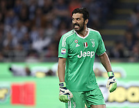Calcio, Serie A: Inter - Juventus, Milano, stadio Giuseppe Meazza (San Siro), 28 aprile 2018.<br /> Juventus' captain and goalkeeper Gianluigi Buffon reacts during the Italian Serie A football match between Inter Milan and Juventus at Giuseppe Meazza (San Siro) stadium, April 28, 2018.<br /> UPDATE IMAGES PRESS/Isabella Bonotto