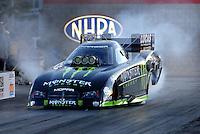 Jan 21, 2007; Las Vegas, NV, USA; NHRA Funny Car driver Kenny Bernstein does a burnout during preseason testing at The Strip at Las Vegas Motor Speedway in Las Vegas, NV. Mandatory Credit: Mark J. Rebilas