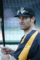 Xavier Nady of the Pittsburgh Pirates during batting practice before a game against the Los Angeles Angels in a 2007 MLB season game at Angel Stadium in Anaheim, California. (Larry Goren/Four Seam Images)
