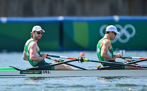 Ronan Byrne, left, and Philip Doyle of Ireland cross the finish line during the Men's Double Sculls at the Sea Forest Waterway during the 2020 Tokyo Summer Olympic Games in Tokyo, Japan.