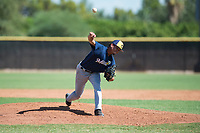 Milwaukee Brewers relief pitcher Luis Gonzalez (87) delivers a pitch during an Instructional League game against the San Diego Padres at Peoria Sports Complex on September 21, 2018 in Peoria, Arizona. (Zachary Lucy/Four Seam Images)