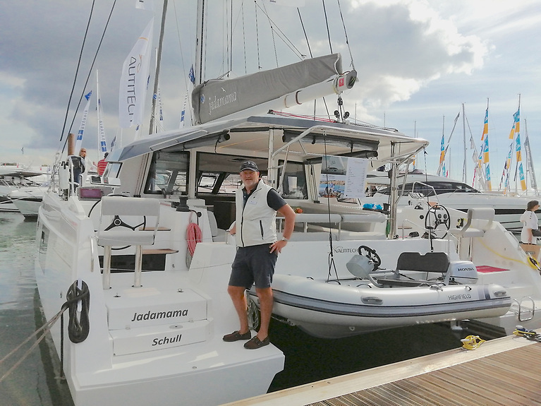 Key Yachting's Mark Mansfield, aboard the Nautitech 46 at the Show, that is heading for Schull, West Cork after the show