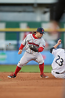 Pawtucket Red Sox shortstop Mike Miller (10) looks to tag Tyler Wade (23) sliding in during a game against the Scranton/Wilkes-Barre RailRiders on May 15, 2017 at PNC Field in Moosic, Pennsylvania.  Scranton defeated Pawtucket 8-4.  (Mike Janes/Four Seam Images)