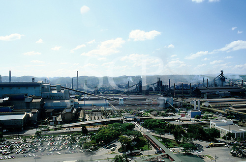 Volta Redonda, Brazil. High view of the Usina Presidente Vargas, largest factory of Companhia Siderúrgica Nacional CSN steelworks factory site.