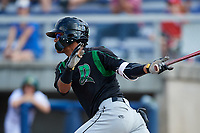 Dayton Dragons second baseman Jose Garcia (15) follows through on a swing during a game against the Beloit Snappers on July 22, 2018 at Pohlman Field in Beloit, Wisconsin.  Dayton defeated Beloit 2-1.  (Mike Janes/Four Seam Images)