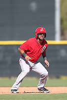 Brian Hernandez #58 of the Los Angeles Angels runs the bases during a Minor League Spring Training Game against the Oakland Athletics at the Los Angeles Angels Spring Training Complex on March 17, 2014 in Tempe, Arizona. (Larry Goren/Four Seam Images)