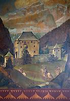 Europe/Italie/Trentin Haut-Adige/Dolomites/Alta Badia/Colfolsco: Hotel Capella  Hotel de charme  la salle de restaurant stube décorée de panneaux 1890 d'Alfred Roller représentant ici le Château  Ciastel Colz à La Villa