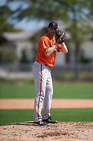 Baltimore Orioles pitcher Mitch Horacek (93) during a minor league Spring Training intrasquad game on April 2, 2016 at Buck O'Neil Complex in Sarasota, Florida.  (Mike Janes/Four Seam Images)