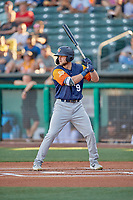 Seth Brown (9) of the Las Vegas Aviators at bat against the Salt Lake Bees at Smith's Ballpark on July 20, 2019 in Salt Lake City, Utah. The Aviators defeated the Bees 8-5. (Stephen Smith/Four Seam Images)