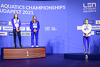 WOMEN - 100M BUTTERFLY <br /> Podium<br /> Gold Medal<br /> NTOUNTOUNAKI Anna GRE Greece<br /> WATTEL Marie FRA France<br /> HANSSON Louise SWE Sweden Bronze Medal<br /> Swimming<br /> Budapest  - Hungary  18/5/2021<br /> Duna Arena<br /> XXXV LEN European Aquatic Championships<br /> Photo Giorgio Scala / Deepbluemedia / Insidefoto
