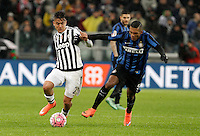 Calcio, Serie A: Juventus vs Inter. Torino, Juventus Stadium, 28 February 2016.<br /> Juventus' Paulo Dybala, left, is challenged by Inter's Juan Jesus during the Italian Serie A football match between Juventus and Inter at Turin's Juventus Stadium, 28 February 2016.<br /> UPDATE IMAGES PRESS/Isabella Bonotto