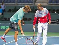 Switserland, Genève, September 17, 2015, Tennis,   Davis Cup, Switserland-Netherlands, Roger Federer practise right captain Severin Luthi<br /> Photo: Tennisimages/Henk Koster