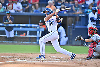 Asheville Tourists C.J. Stubbs (15) swings at a pitch during a game against the Greenville Drive on July 14, 2021 at McCormick Field in Asheville, NC. (Tony Farlow/Four Seam Images)