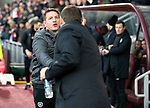 Hearts v St Johnstone…..14.12.19   Tynecastle   SPFL<br />New Hearts manager Daniel Stendel shakes hands with saints manager Tommy Wright before kick off.<br />Picture by Graeme Hart.<br />Copyright Perthshire Picture Agency<br />Tel: 01738 623350  Mobile: 07990 594431
