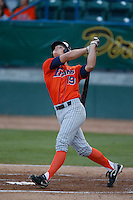 Matt Chapman #19 of the Cal State Fullerton Titans bats against the Long Beach State 49'ers at Blair Field on March 22, 2013 in Long Beach, California. (Larry Goren/Four Seam Images)