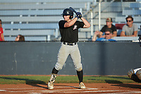 Dylan Broderick (4) (Pitt-Johnstown) of the Concord A's at bat against the Mooresville Spinners at Moor Park on July 31, 2020 in Mooresville, NC. The Spinners defeated the Athletics 6-3 in a game called after 6 innings due to rain. (Brian Westerholt/Four Seam Images)