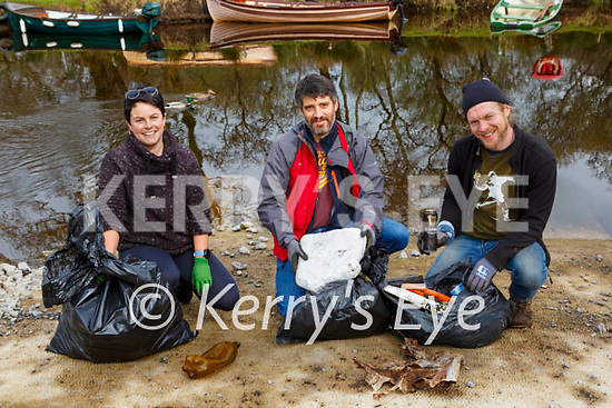 Claire Tangney, Harold Clifden and Kevin Leahy who helped with the clean up around the Lough Leane lakeshore at Ross Castle on Friday morning