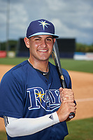 Greg Veliz (14) of Key West High School in Key West, Florida playing for the Tampa Bay Rays scout team during the East Coast Pro Showcase on July 30, 2015 at George M. Steinbrenner Field in Tampa, Florida.  (Mike Janes/Four Seam Images)