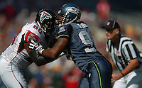 Sep 18, 2005; Seattle, WA, USA; Atlanta Falcons tight end Eric Beverly #80 battles with Seattle Seahawks left defensive end Bryce Fisher #94 in the first quarter at Qwest Field. Mandatory Credit: Photo By Mark J. Rebilas