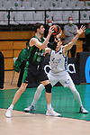Liga ENDESA 2020/2021. Game: 16.<br /> Club Joventut Badalona vs Hereda San Pablo Burgos: 78-95.<br /> Ante Tomic vs Maksim Salash.