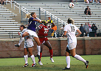 WINSTON-SALEM, NORTH CAROLINA - September 01, 2013:<br />  Christine Exeter (22) of Louisville University loses the ball to Aubrey Bledsoe (1) of Wake Forest University during a match at the Wake Forest Invitational tournament at Wake Forest University on September 01. The match was abandoned early in the second half due to severe weather with Wake leading 1-0.