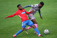 Myles Weston of Dagenham and Redbridge and Michee Efete of Wealdstone during Dagenham & Redbridge vs Wealdstone, Vanarama National League Football at the Chigwell Construction Stadium on 10th October 2020