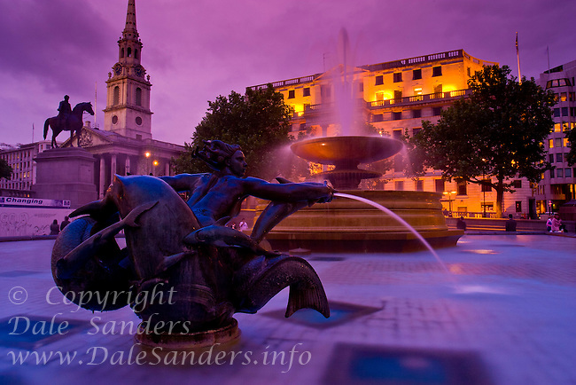 Trafalgar Square at dusk, London, England.