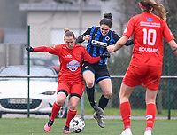 Stefanie Deville (3) of Woluwe pictured fighting for the ball with Frieke Temmerman (17) of Club Brugge during a female soccer game between Club Brugge Dames YLA and White Star Woluwe on the 12 th matchday of the 2020 - 2021 season of Belgian Scooore Womens Super League , saturday 30 January 2021  in Brugge , Belgium . PHOTO SPORTPIX.BE | SPP | DAVID CATRY