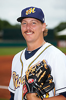 Montgomery Biscuits pitcher Ryne Stanek (40) poses for a photo before a game against the Tennessee Smokies on May 25, 2015 at Riverwalk Stadium in Montgomery, Alabama.  Tennessee defeated Montgomery 6-3 as the game was called after eight innings due to rain.  (Mike Janes/Four Seam Images)