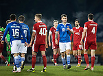 St Johnstone v Aberdeen…27.01.21   McDiarmid Park   SPFL<br />Jason Kerr. with Andrew Considine at full time<br />Picture by Graeme Hart.<br />Copyright Perthshire Picture Agency<br />Tel: 01738 623350  Mobile: 07990 594431