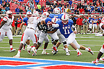 Southern Methodist Mustangs quarterback Garrett Gilbert (11) in action during the game between the Rutgers Scarlet Knights and the SMU Mustangs at the Gerald J. Ford Stadium in Fort Worth, Texas. Rutgers defeats SMU 55 to 52 in triple OT.