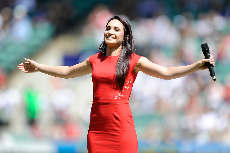 Laura Wright sings the national anthem before the match between England and Barbarians at Twickenham on Sunday 26th May 2013 (Photo by Rob Munro)