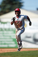 Auburn Doubledays center fielder Daniel Johnson (30) running the bases during the second game of a doubleheader against the Batavia Muckdogs on September 4, 2016 at Dwyer Stadium in Batavia, New York.  Batavia defeated Auburn 6-5. (Mike Janes/Four Seam Images)