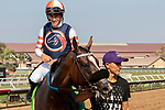 """DEL MAR, CA  AUGUST 18: #12 Fashion Business, ridden by Flavien Prat, returns to the connections after winning the Del Mar Handicap by The Japan Racing Association (Grade ll), Breeders' Cup """"Win and You're In Turf Division"""", on August 18, 2018 at Del Mar Thoroughbred Club in Del Mar, CA.(Photo by Casey Phillips/Eclipse Sportswire/Getty ImagesGetty Images"""