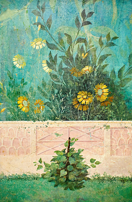 Painted Fruit Tress in the Roman fresco of a garden from Villa Livia (Early first century AD), Rome, Livia was the wife of Roman emperor Augustus.  Museo Nazionale Romano ( National Roman Museum), Rome, Italy.<br /> Trees and shrubs had symbolic importance to the Romans as can be see by the plants used in the trompe-l'œil frescoes from the Villa Livia, Rome, which contains plants linked to the deities particularily venerated by Augustus and Livia.