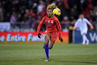 COLUMBUS, OH - NOVEMBER 07: Casey Short #26 of the United States chases down a ball during a game between Sweden and USWNT at MAPFRE Stadium on November 07, 2019 in Columbus, Ohio.
