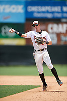 Bowie Baysox second baseman Chris Clare (9) throws to first base during an Eastern League game against the Akron RubberDucks on May 30, 2019 at Prince George's Stadium in Bowie, Maryland.  Akron defeated Bowie 9-5.  (Mike Janes/Four Seam Images)