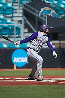 Luke Robinson (38) of the Western Carolina Catamounts follows through on his swing against the Kennesaw State Owls at Springs Brooks Stadium on February 22, 2020 in Conway, South Carolina. The Owls defeated the Catamounts 12-0.  (Brian Westerholt/Four Seam Images)