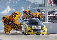 Apr. 26, 2013; Baytown, TX, USA: NHRA funny car driver Jeff Arend during qualifying for the Spring Nationals at Royal Purple Raceway. Mandatory Credit: Mark J. Rebilas-