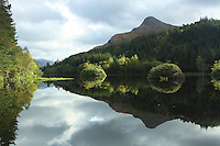 Sgorr na Ciche reflected in Glencoe Lochan, Glencoe, Highland<br /> <br /> Copyright www.scottishhorizons.co.uk/Keith Fergus 2011 All Rights Reserved