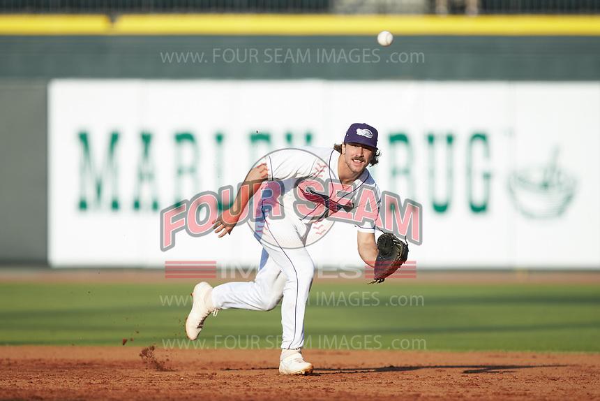 Winston-Salem Dash first baseman Jameson Fisher (11) on defense against the Carolina Mudcats at BB&T Ballpark on June 1, 2019 in Winston-Salem, North Carolina. The Mudcats defeated the Dash 6-3 in game one of a double header. (Brian Westerholt/Four Seam Images)