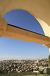 """Israel, Lower Galilee, a view of Nazareth from the Franciscan """"Mary's Fear"""" church"""
