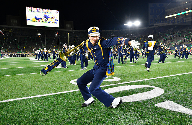 September 1, 2018; ; A member of the Notre Dame Marching Band celebrates after Notre Dame defeated Michigan 17 to 24 in the opening season game. (Photo by Barbara Johnston/University of Notre Dame)
