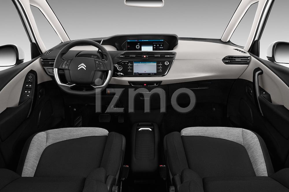 Stock photo of straight dashboard view of 2016 Citroen Grand-C4-Picasso Shine 5 Door Mini MPV Dashboard