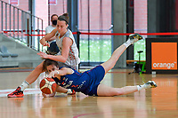 Antonia Delaere (6) of Belgium and Nevena Jovanovic (8) of Serbia pictured during a basketball game between the national teams of Belgium , called the Belgian Cats , and Serbia on Friday 28 th of May 2021 in Kortrijk , Belgium . PHOTO SPORTPIX.BE   SPP   STIJN AUDOOREN