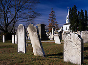 Old weathered headstones at Chester Village Cemetery in Chester, New Hampshire USA
