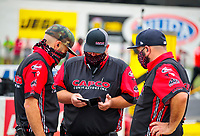 Jul 19, 2020; Clermont, Indiana, USA; Crew members for NHRA top fuel driver Billy Torrence during the Summernationals at Lucas Oil Raceway. Mandatory Credit: Mark J. Rebilas-USA TODAY Sports