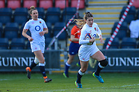 Jess Breach of England  through to score during the Guinness Six Nations match between England Women and Scotland Women at Castle Park Stadium, Doncaster, England on 3 April 2021. Photo by Thomas Gadd / PRiME Media Images.