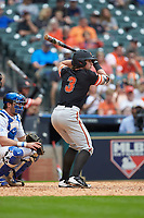 Jaxxon Grisham (3) of the Sam Houston State Bearkats at bat against the Kentucky Wildcats during game four of the 2018 Shriners Hospitals for Children College Classic at Minute Maid Park on March 3, 2018 in Houston, Texas. The Wildcats defeated the Bearkats 7-2.  (Brian Westerholt/Four Seam Images)